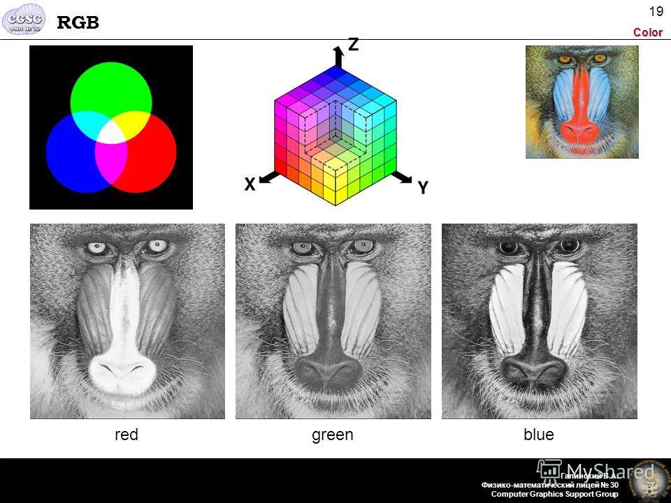 Color Галинский В.А. Физико-математический лицей 30 Computer Graphics Support Group 19 RGB redgreenblue