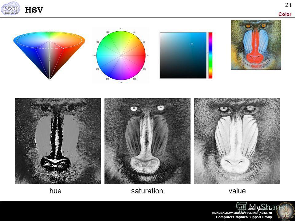 Color Галинский В.А. Физико-математический лицей 30 Computer Graphics Support Group 21 HSV huesaturationvalue