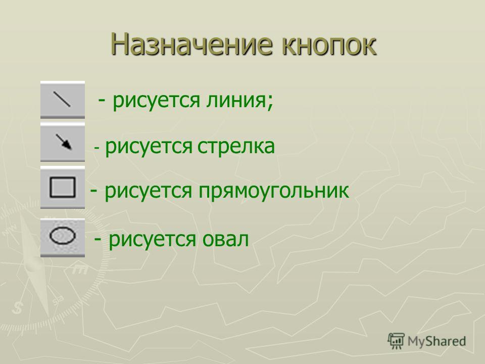Назначение кнопок - рисуется линия; - рисуется стрелка - рисуется прямоугольник - рисуется овал