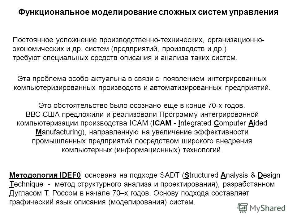 Источник: http://chizhik.ucoz.ru/load/informacionnye_sistemy_i_tekhnologii/informacionnye_sistemy/funkcionalnoe_modelirovanie/12-1-0-81  Функциональное моделирование сложных систем управления Методология IDEF0 основана на подходе SADT (Structured A