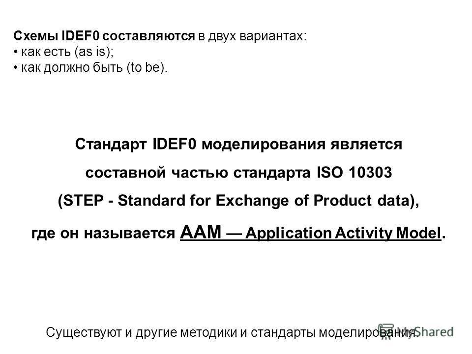 Схемы IDEF0 составляются в двух вариантах: как есть (as is); как должно быть (to be). Существуют и другие методики и стандарты моделирования. Стандарт IDEF0 моделирования является составной частью стандарта ISO 10303 (STEP - Standard for Exchange of