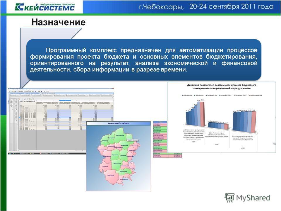 Программный комплекс предназначен для автоматизации процессов формирования проекта бюджета и основных элементов бюджетирования, ориентированного на результат, анализа экономической и финансовой деятельности, сбора информации в разрезе времени. Назнач