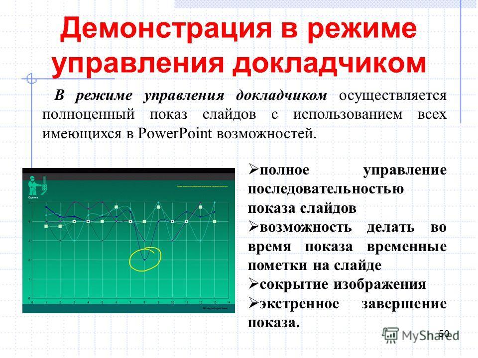 Демонстрация в режиме управления докладчиком 50 В режиме управления докладчиком осуществляется полноценный показ слайдов с использованием всех имеющихся в PowerPoint возможностей. полное управление последовательностью показа слайдов возможность делат