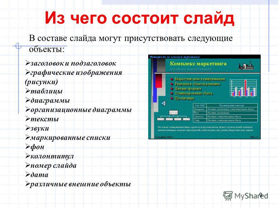 Из чего состоит слайд 9 В составе слайда могут присутствовать следующие объекты: заголовок и подзаголовок графические изображения (рисунки) таблицы диаграммы организационные диаграммы тексты звуки маркированные списки фон колонтитул номер слайда дата