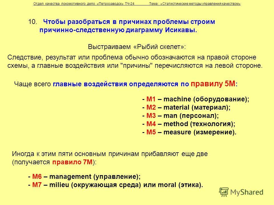 10. Чтобы разобраться в причинах проблемы строим причинно-следственную диаграмму Исикавы. Чаще всего главные воздействия определяются по правилу 5М : - М1 – machine (оборудование); - М2 – material (материал); - М3 – man (персонал); - М4 – method (тех