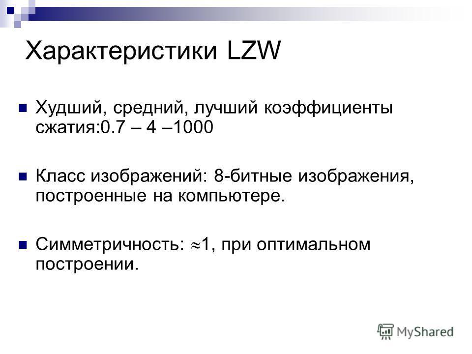 Характеристики LZW Худший, средний, лучший коэффициенты сжатия:0.7 – 4 –1000 Класс изображений: 8-битные изображения, построенные на компьютере. Симметричность: 1, при оптимальном построении.
