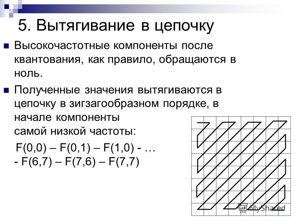 5. Вытягивание в цепочку Высокочастотные компоненты после квантования, как правило, обращаются в ноль. Полученные значения вытягиваются в цепочку в зигзагообразном порядке, в начале компоненты самой низкой частоты: F(0,0) – F(0,1) – F(1,0) - … - F(6,