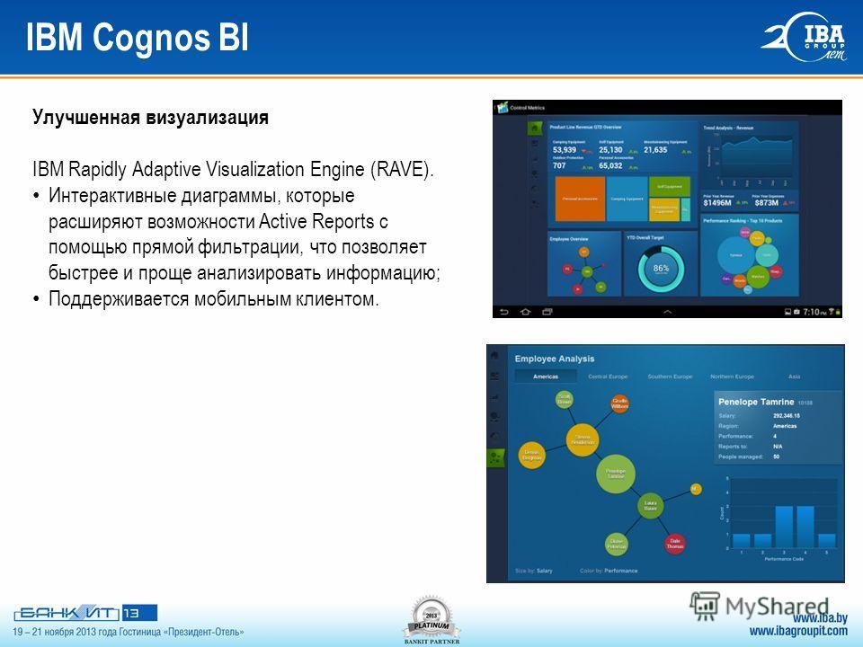 IBM Cognos BI Улучшенная визуализация IBM Rapidly Adaptive Visualization Engine (RAVE). Интерактивные диаграммы, которые расширяют возможности Active Reports с помощью прямой фильтрации, что позволяет быстрее и проще анализировать информацию; Поддерж