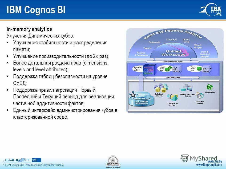 IBM Cognos BI In-memory analytics Улучения Динамических кубов: Улучшения стабильности и распределения памяти; Улучшение производительности (до 2x раз); Более детальная раздача прав (dimensions, levels and level attributes); Поддержка таблиц безопасно