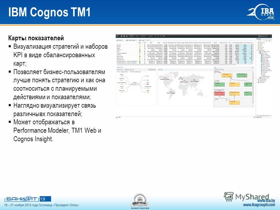 IBM Cognos TM1 Карты показателей Визуализация стратегий и наборов KPI в виде сбалансированных карт; Позволяет бизнес-пользователям лучше понять стратегию и как она соотноситься с планируемыми действиями и показателями; Наглядно визуализирует связь ра