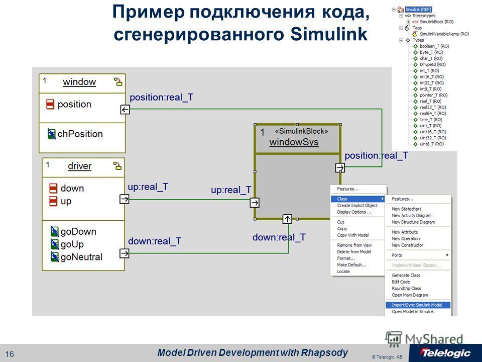 © Telelogic AB Model Driven Development with Rhapsody 15 Пример визуализации кода
