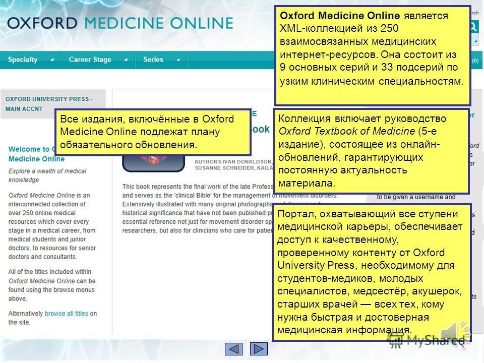 Эта презентация даёт краткое описание ресурса Oxford Medicine Online Она расскажет вам: что такое Oxford Medicine Online чем он может быть полезен для вас как искать в нём информацию Презентация займёт не более 5 минут