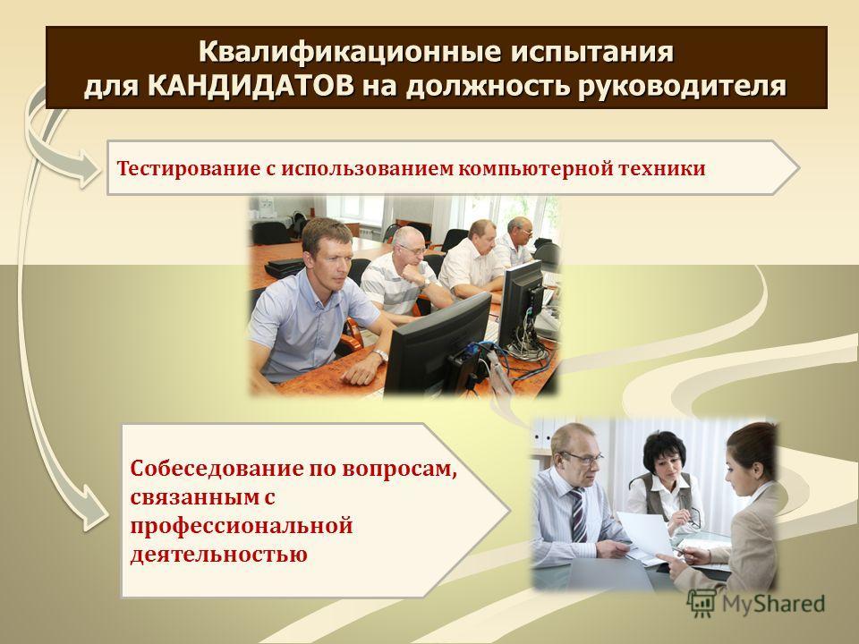 Квалификационные испытания для КАНДИДАТОВ на должность руководителя Тестирование с использованием компьютерной техники Собеседование по вопросам, связанным с профессиональной деятельностью