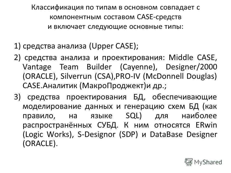 Классификация по типам в основном совпадает с компонентным составом САSЕ-средств и включает следующие основные типы: 1) средства анализа (Uрреr САSЕ); 2) средства анализа и проектирования: Middlе САSЕ, Vаntаgе Теаm Buildеr (Сауеnnе), Dеsignеr/2000 (О