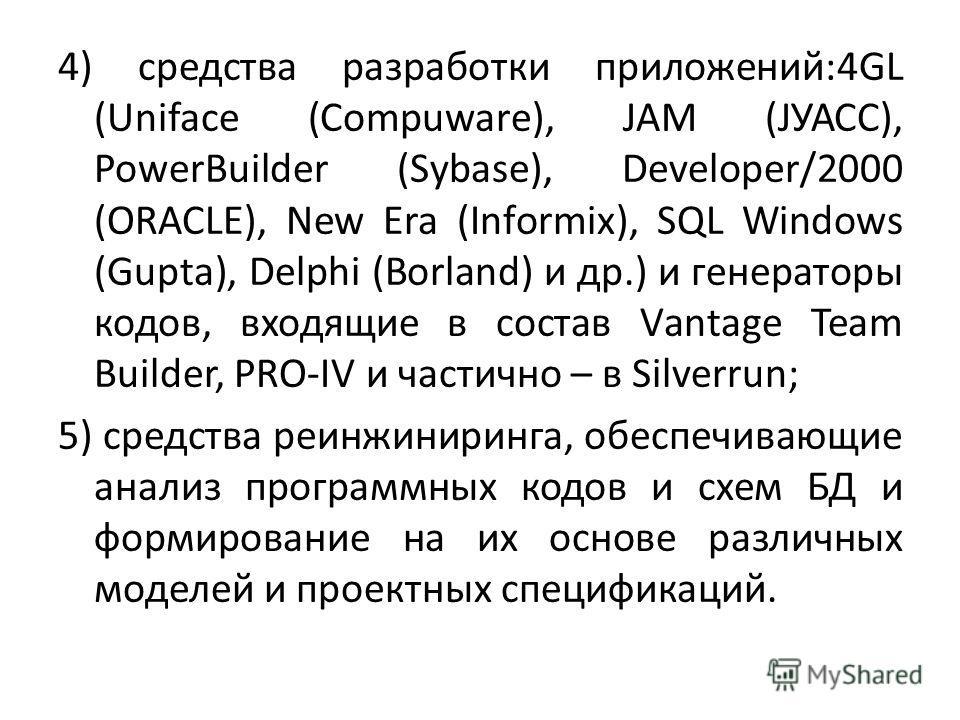 4) средства разработки приложений:4GL (Unifасе (Соmрuwаrе), JАM (JУАСС), РоwеrBuildеr (Sуbаsе), Dеvеlореr/2000 (ОRАСLЕ), Nеw Еrа (Infоrmiх), SQL Windоws (Guрtа), Dеlрhi (Bоrlаnd) и др.) и генераторы кодов, входящие в состав Vаntаgе Теаm Buildеr, РRО-