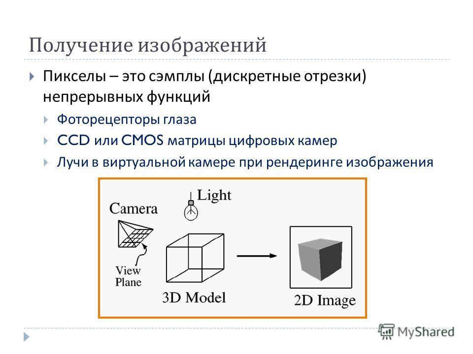 Получение изображений Пикселы – это сэмплы ( дискретные отрезки ) непрерывных функций Фоторецепторы глаза CCD или CMOS матрицы цифровых камер Лучи в виртуальной камере при рендеринге изображения
