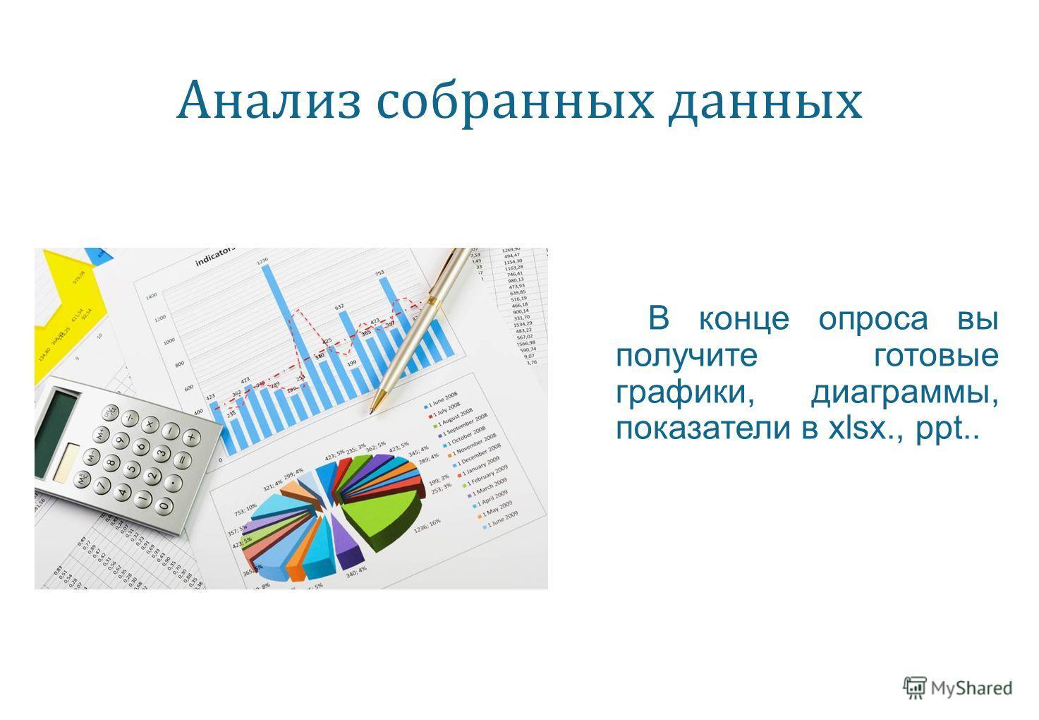 Анализ собранных данных В конце опроса вы получите готовые графики, диаграммы, показатели в xlsx., ppt..