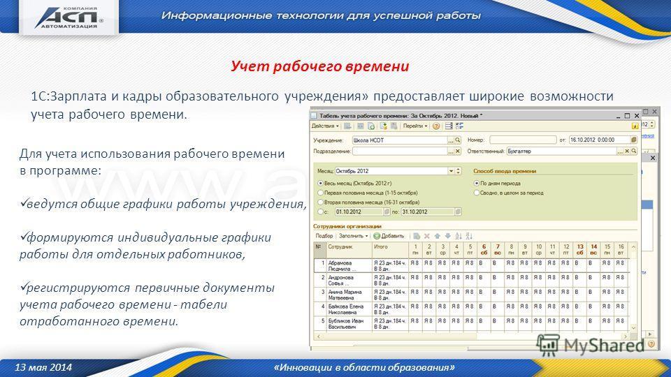 13 мая 2014«Инновации в области образования» Для учета использования рабочего времени в программе: ведутся общие графики работы учреждения, формируются индивидуальные графики работы для отдельных работников, регистрируются первичные документы учета р