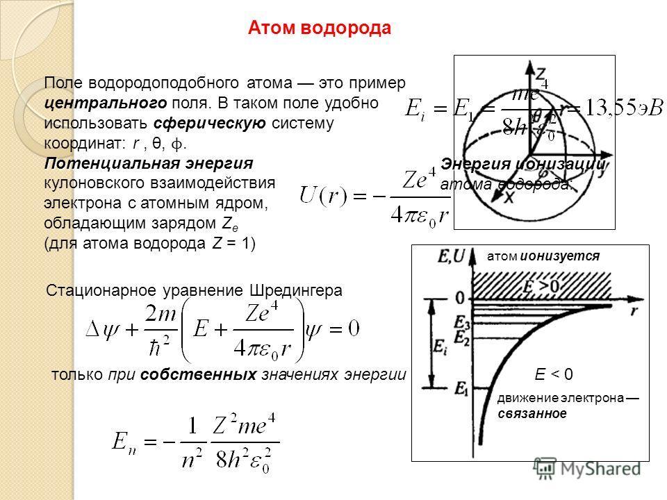Атом водорода Поле водородоподобного атома это пример центрального поля. В таком поле удобно использовать сферическую систему координат: r, θ, ϕ. Потенциальная энергия кулоновского взаимодействия электрона с атомным ядром, обладающим зарядом Z e (для