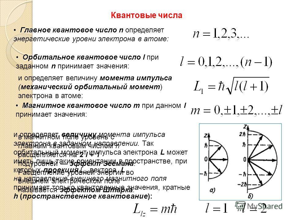 Квантовые числа Главное квантовое числоn Главное квантовое число n определяет энергетические уровни электрона в атоме: Орбитальное квантовое число l n Орбитальное квантовое число l при заданном n принимает значения: момента импульса и определяет вели