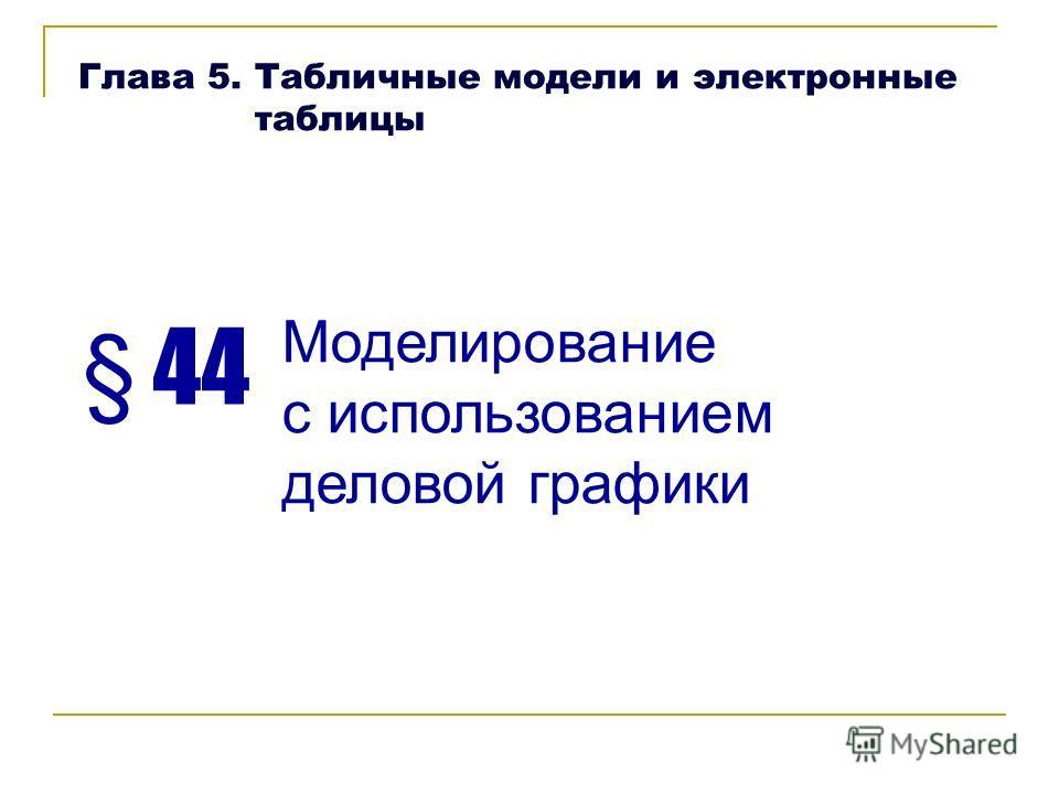 § 44 Моделирование с использованием деловой графики Глава 5. Табличные модели и электронные таблицы