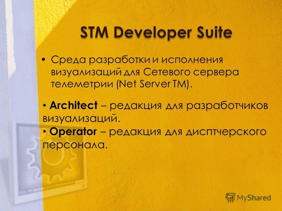 STM Developer Suite Среда разработки и исполнения визуализаций для Сетевого сервера телеметрии (Net Server TM). Architect – редакция для разработчиков визуализаций. Operator – редакция для дисптчерского персонала.