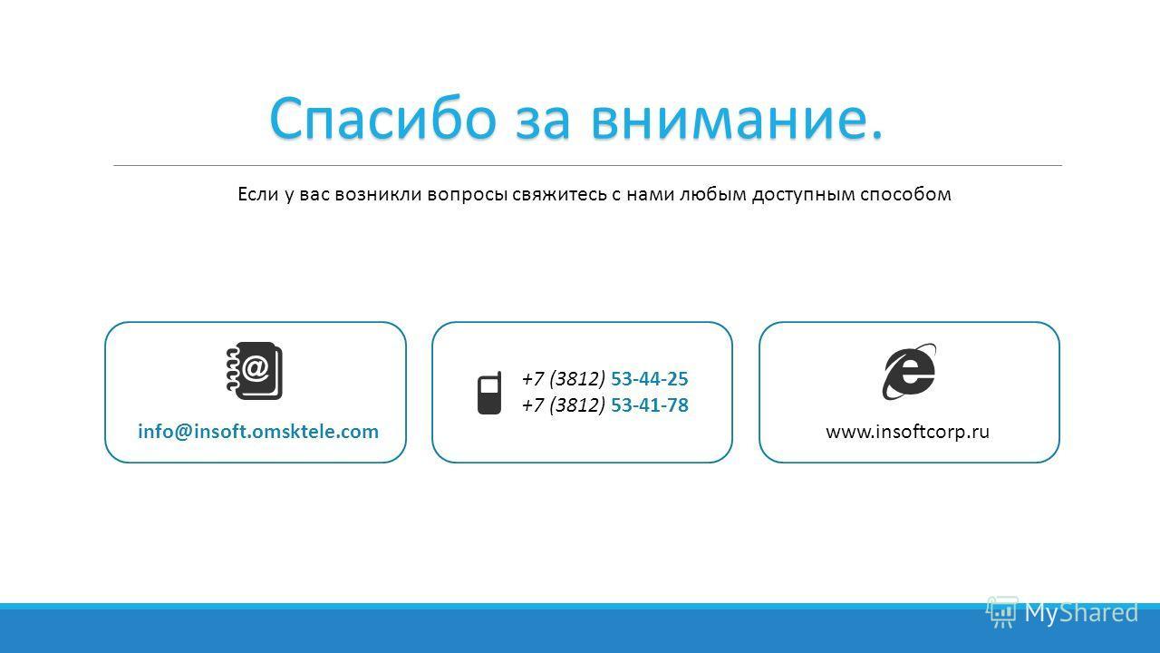 Спасибо за внимание. Если у вас возникли вопросы свяжитесь с нами любым доступным способом +7 (3812) 53-44-25 +7 (3812) 53-41-78 info@insoft.omsktele.comwww.insoftcorp.ru