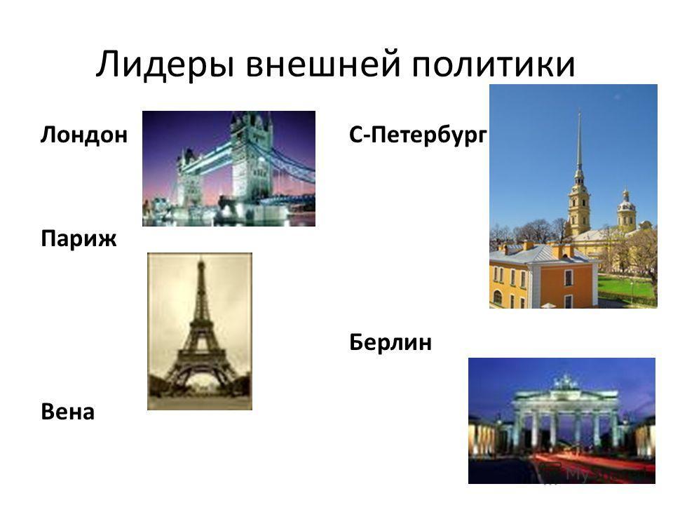 Лидеры внешней политики Лондон Париж Вена С-Петербург Берлин