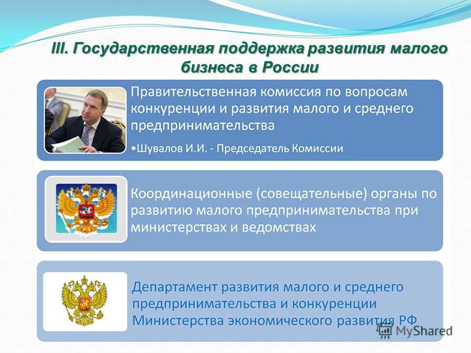 lll. Государственная поддержка развития малого бизнеса в России