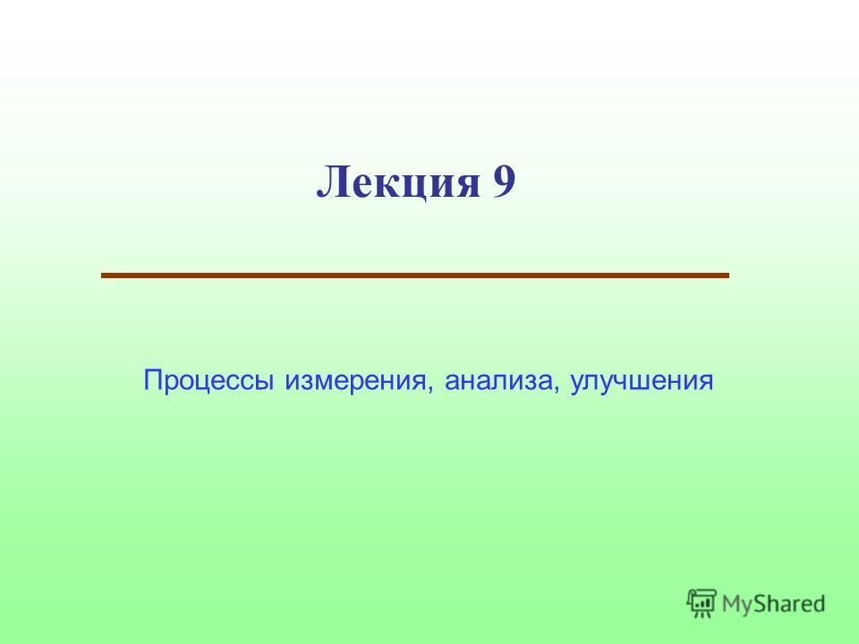 Лекция 9 Процессы измерения, анализа, улучшения