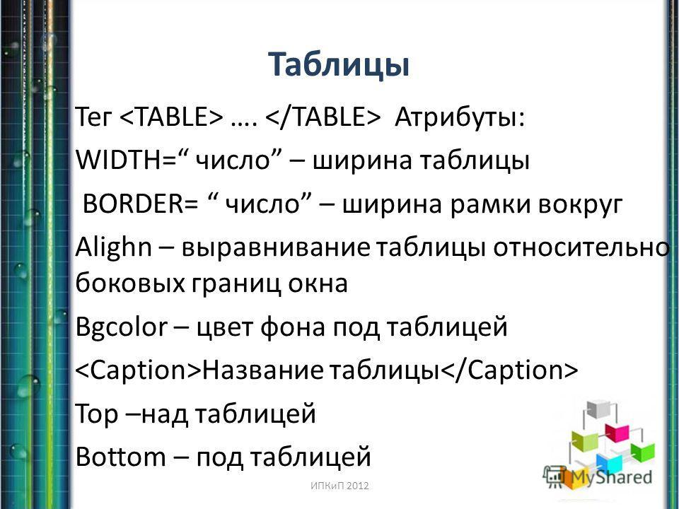 Таблицы Тег …. Атрибуты: WIDTH= число – ширина таблицы BORDER= число – ширина рамки вокруг Alighn – выравнивание таблицы относительно боковых границ окна Bgcolor – цвет фона под таблицей Название таблицы Top –над таблицей Bottom – под таблицей ИПКиП