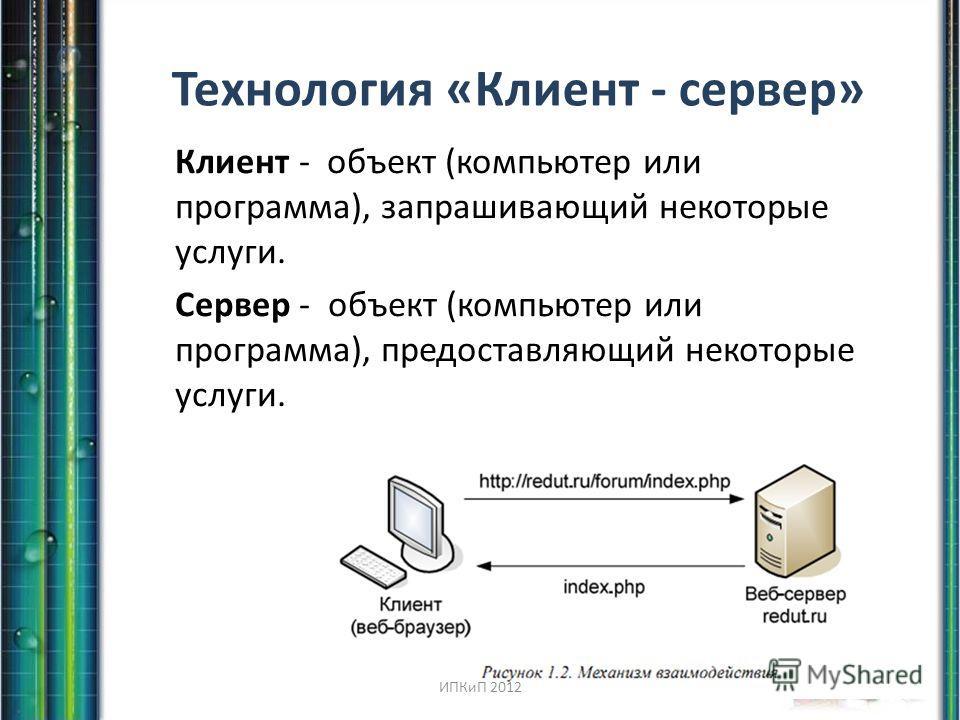 Технология «Клиент - сервер» Клиент - объект (компьютер или программа), запрашивающий некоторые услуги. Сервер - объект (компьютер или программа), предоставляющий некоторые услуги. ИПКиП 2012