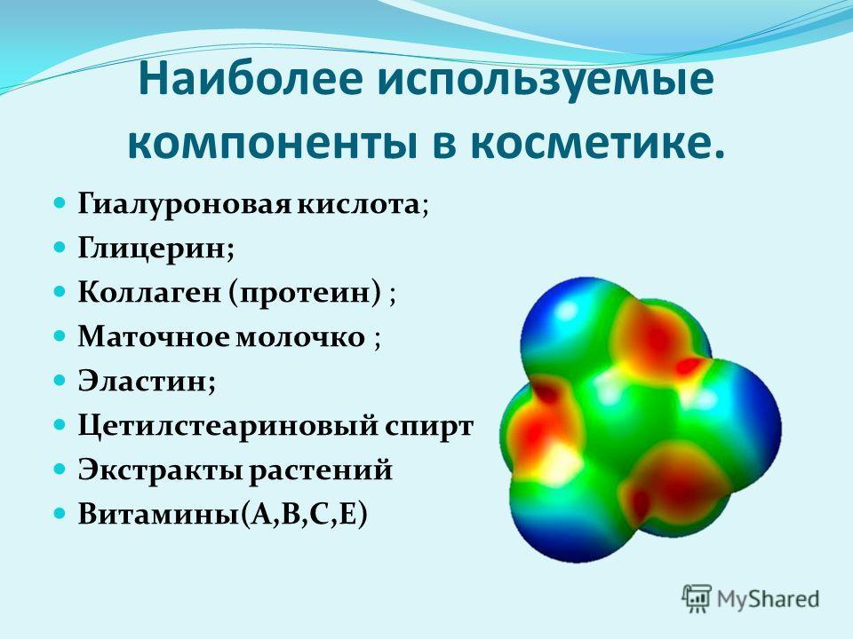 Наиболее используемые компоненты в косметике. Гиалуроновая кислота; Глицерин; Коллаген (протеин) ; Маточное молочко ; Эластин; Цетилстеариновый спирт Экстракты растений Витамины(А,В,С,Е)