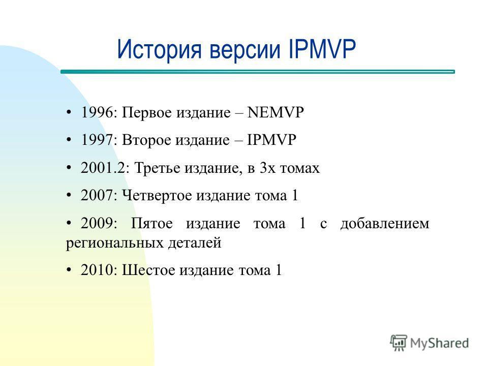 История версии IPMVP 1996: Первое издание – NEMVP 1997: Второе издание – IPMVP 2001.2: Третье издание, в 3х томах 2007: Четвертое издание тома 1 2009: Пятое издание тома 1 с добавлением региональных деталей 2010: Шестое издание тома 1