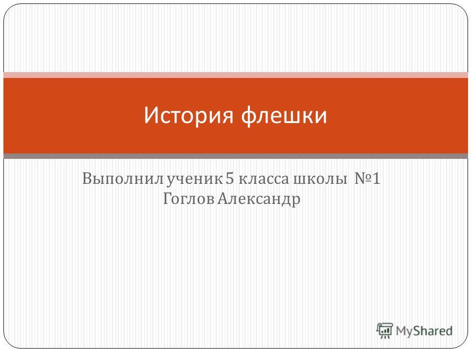 Выполнил ученик 5 класса школы 1 Гоглов Александр История флешки
