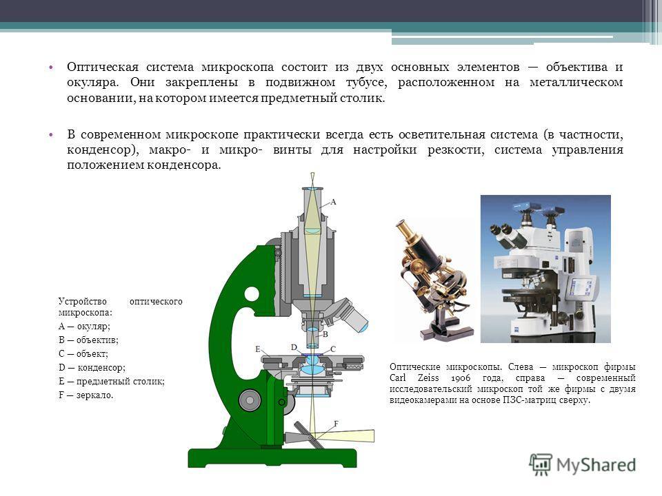 Оптическая система микроскопа состоит из двух основных элементов объектива и окуляра. Они закреплены в подвижном тубусе, расположенном на металлическом основании, на котором имеется предметный столик. В современном микроскопе практически всегда есть