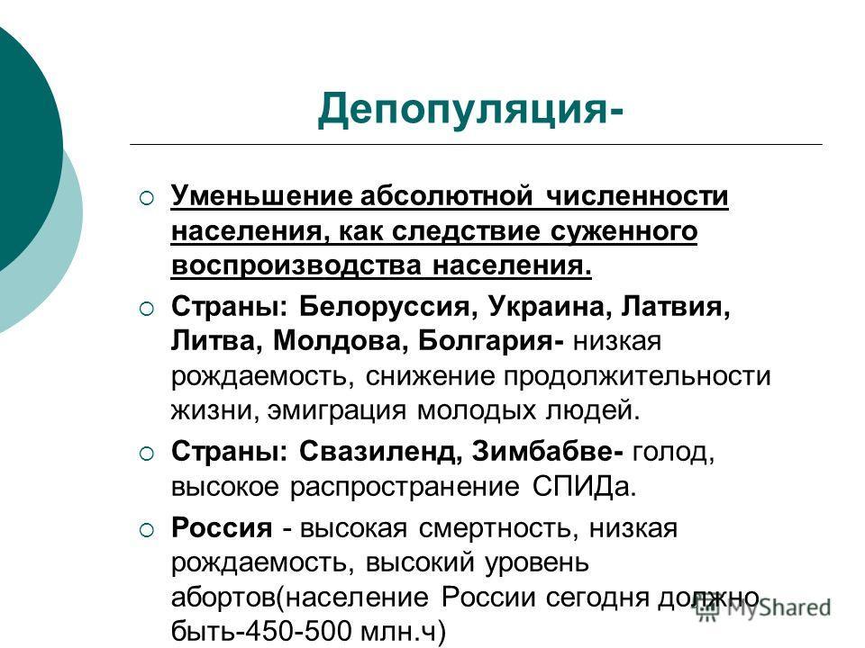 Депопуляция- Уменьшение абсолютной численности населения, как следствие суженного воспроизводства населения. Страны: Белоруссия, Украина, Латвия, Литва, Молдова, Болгария- низкая рождаемость, снижение продолжительности жизни, эмиграция молодых людей.