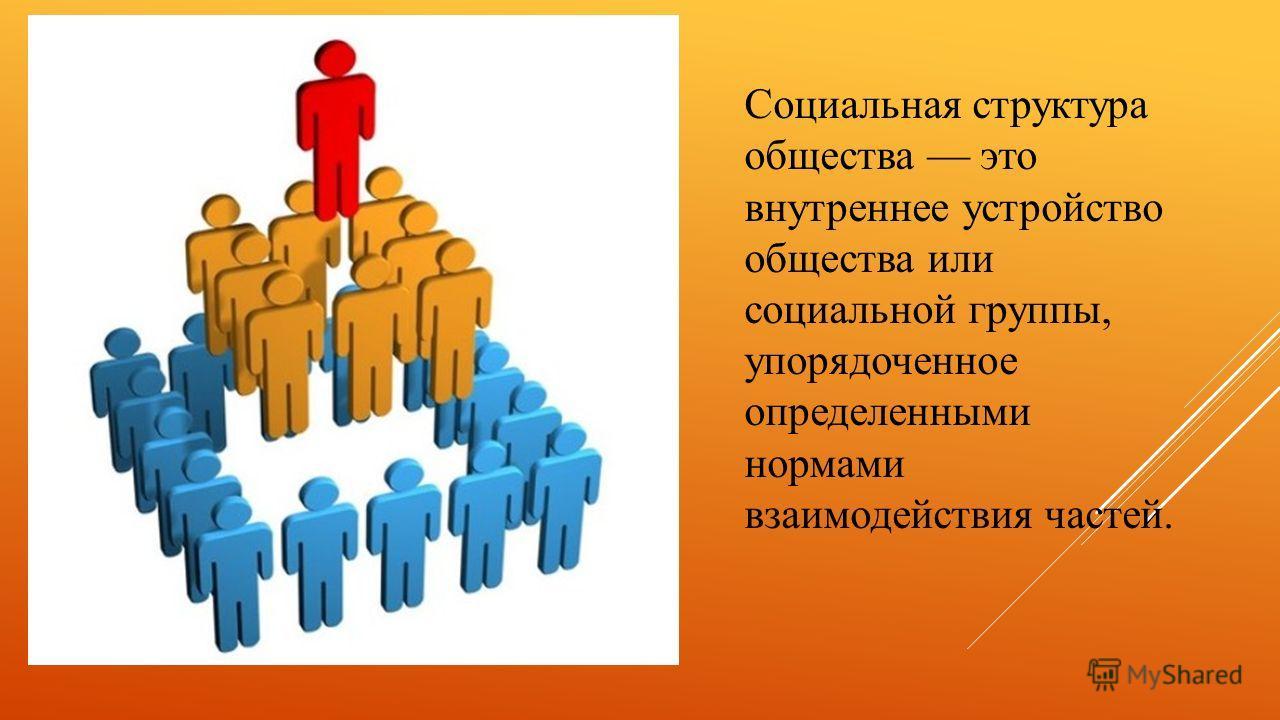 Социальная структура общества это внутреннее устройство общества или социальной группы, упорядоченное определенными нормами взаимодействия частей.