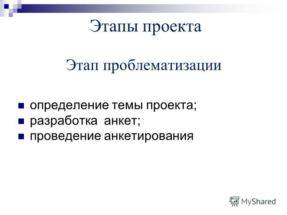 Этапы проекта Этап проблематизации определение темы проекта; разработка анкет; проведение анкетирования