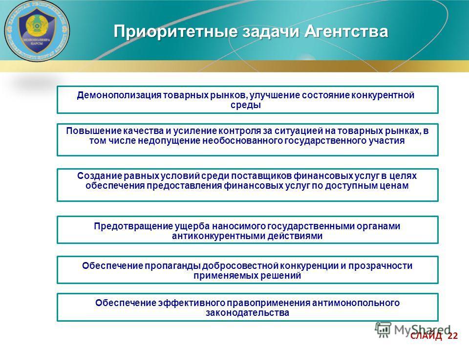 СЛАЙД 22 Приоритетные задачи Агентства Предотвращение ущерба наносимого государственными органами антиконкурентными действиями Повышение качества и усиление контроля за ситуацией на товарных рынках, в том числе недопущение необоснованного государстве