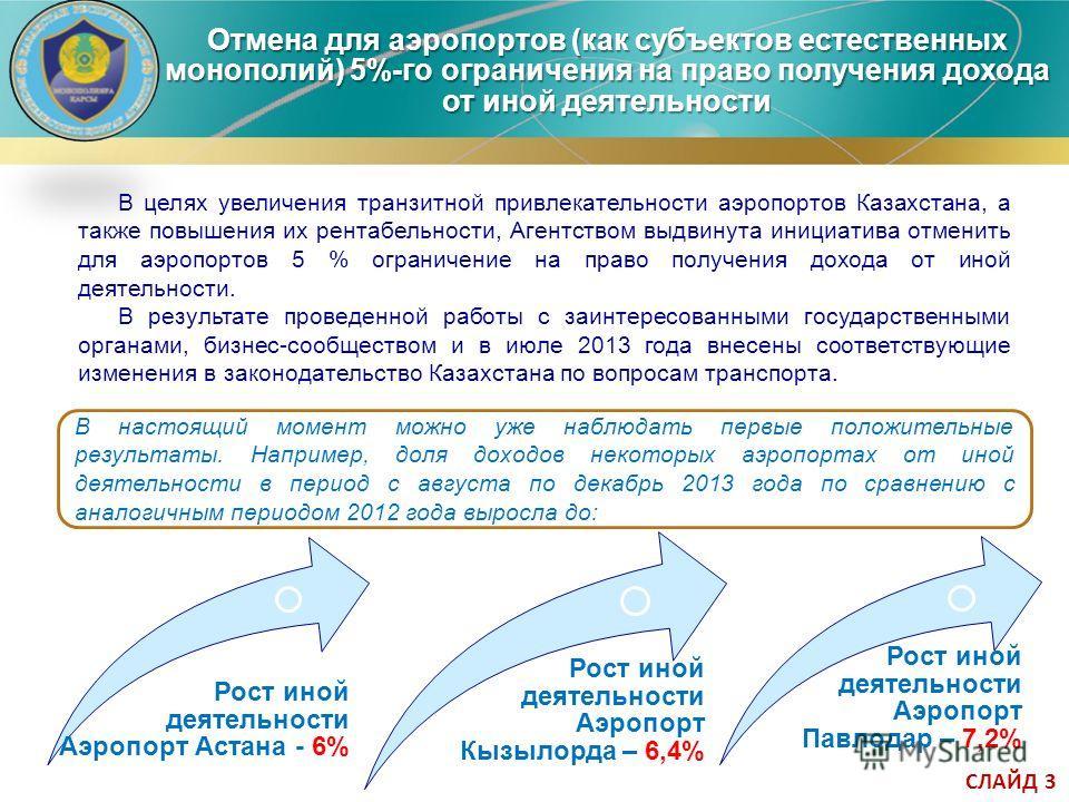 Отмена для аэропортов (как субъектов естественных монополий) 5%-го ограничения на право получения дохода от иной деятельности Рост иной деятельности Аэропорт Астана - 6% В настоящий момент можно уже наблюдать первые положительные результаты. Например