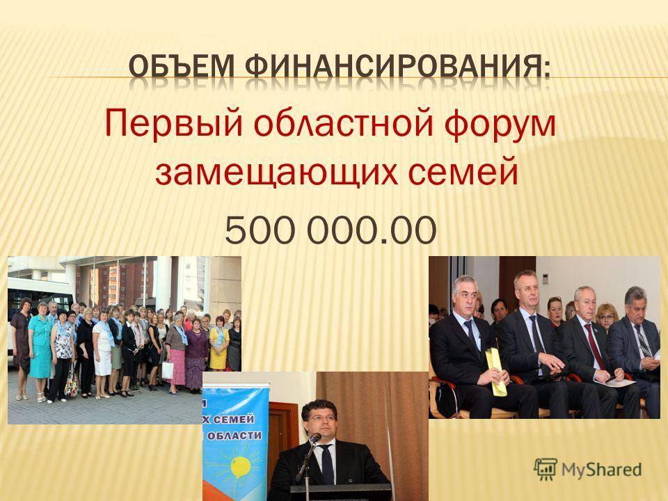 Первый областной форум замещающих семей 500 000.00