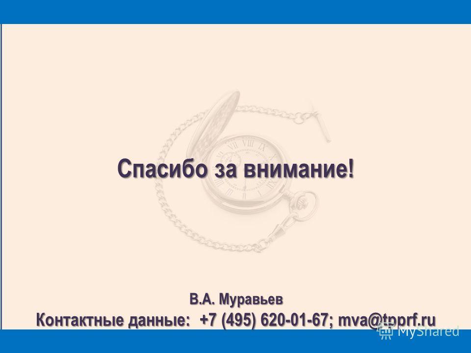 18 Спасибо за внимание! В.А. Муравьев Контактные данные: +7 (495) 620-01-67; mva@tpprf.ru