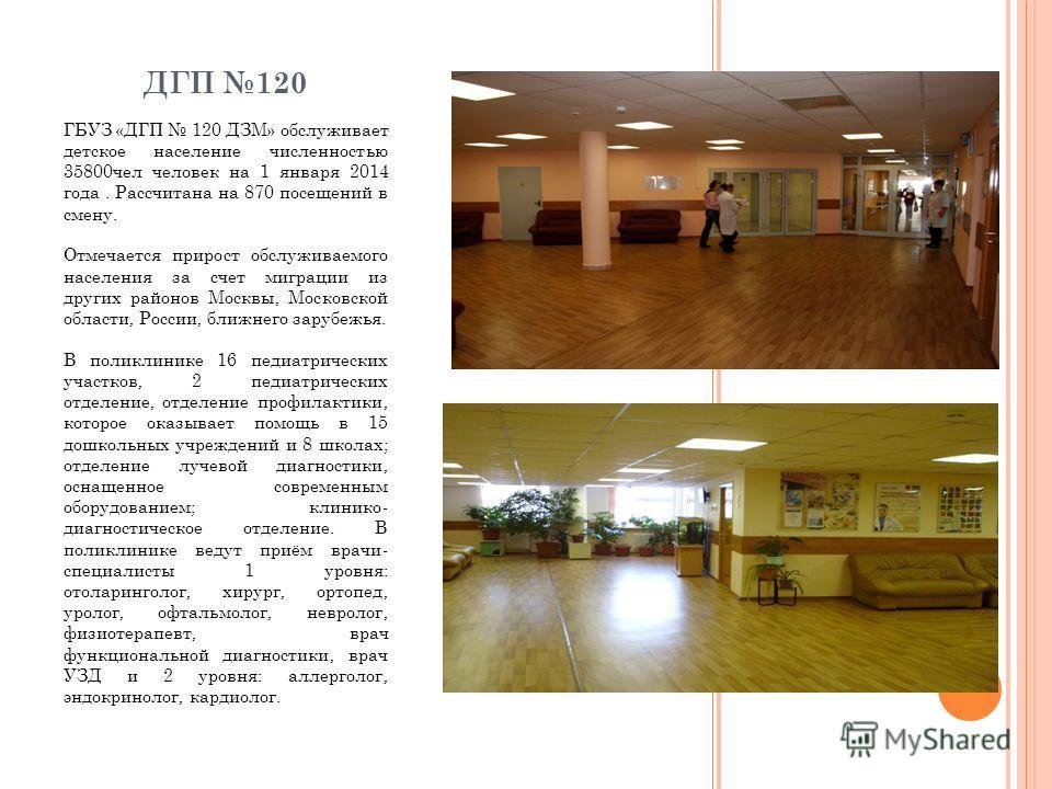 ДГП 120 ГБУЗ «ДГП 120 ДЗМ» обслуживает детское население численностью 35800 чел человек на 1 января 2014 года. Рассчитана на 870 посещений в смену. Отмечается прирост обслуживаемого населения за счет миграции из других районов Москвы, Московской обла