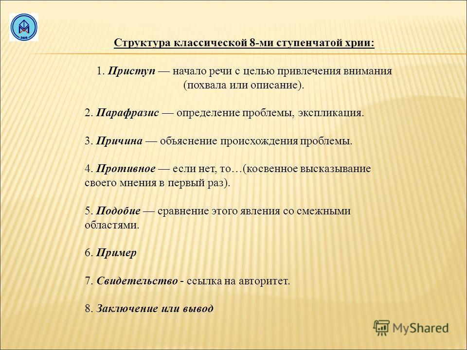 Структура классической 8-ми ступенчатой хрии: 1. Приступ начало речи с целью привлечения внимания (похвала или описание). 2. Парафразис определение проблемы, экспликация. 3. Причина объяснение происхождения проблемы. 4. Противное если нет, то…(косвен