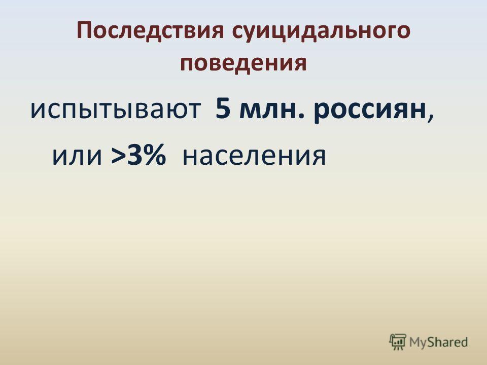 Последствия суицидального поведения испытывают 5 млн. россиян, или >3% населения