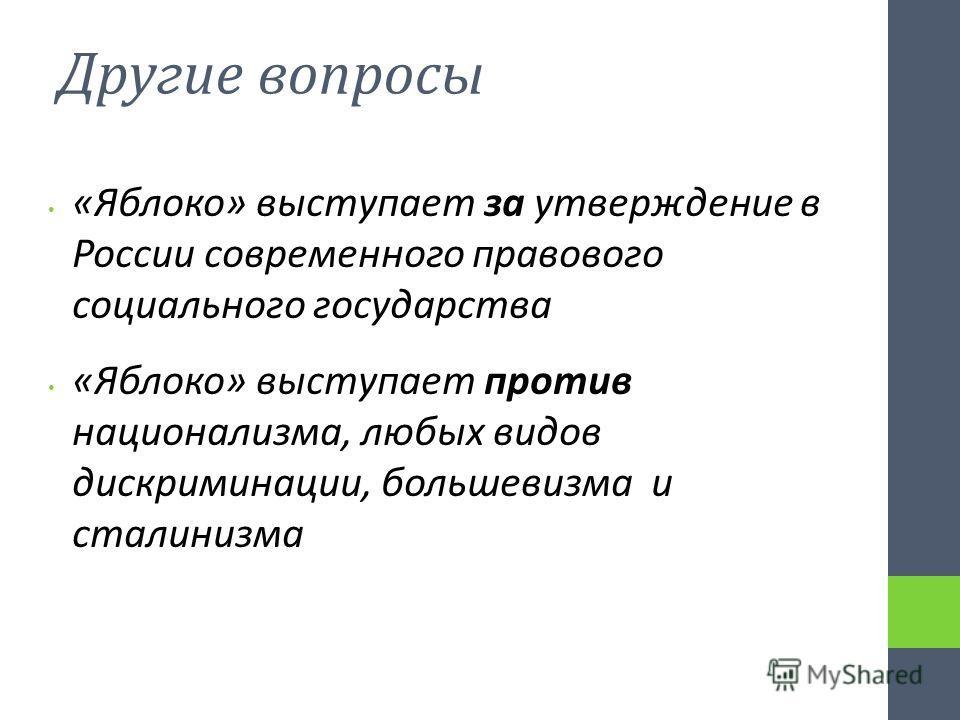 Другие вопросы «Яблоко» выступает за утверждение в России современного правового социального государства «Яблоко» выступает против национализма, любых видов дискриминации, большевизма и сталинизма