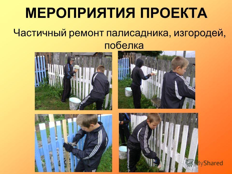 МЕРОПРИЯТИЯ ПРОЕКТА Частичный ремонт палисадника, изгородей, побелка