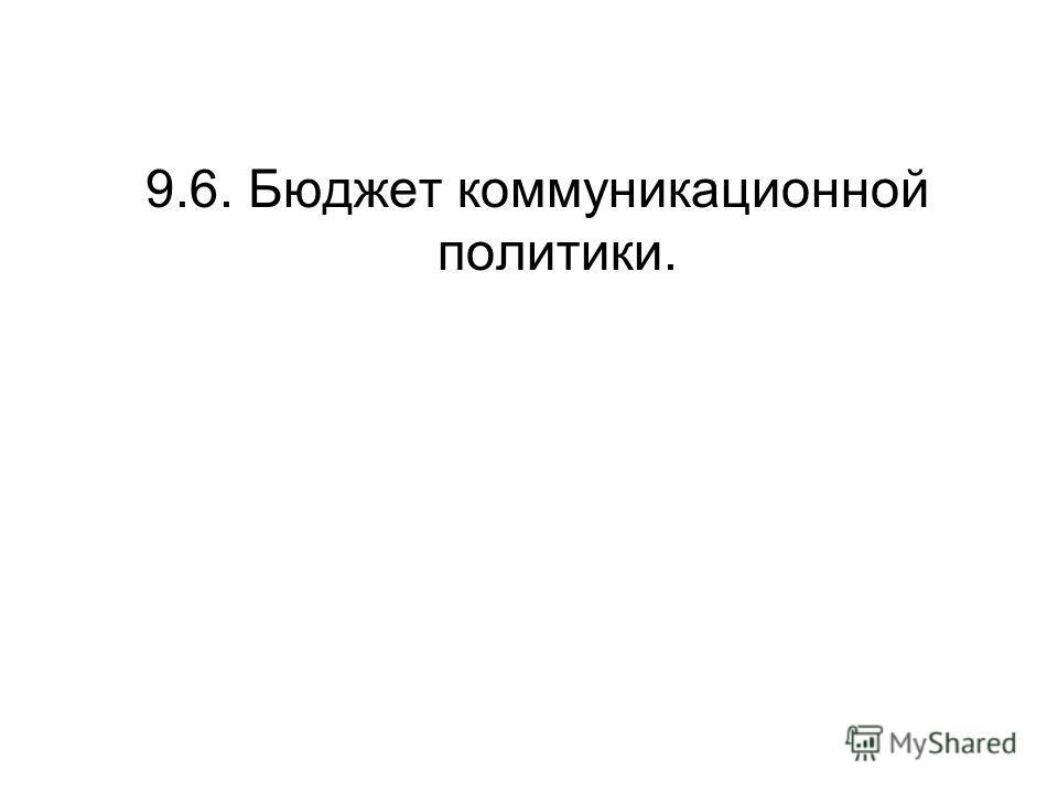 9.6. Бюджет коммуникационной политики.