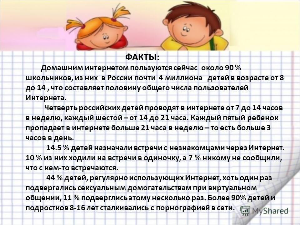 ФАКТЫ: Домашним интернетом пользуются сейчас около 90 % школьников, из них в России почти 4 миллиона детей в возрасте от 8 до 14, что составляет половину общего числа пользователей Интернета. Четверть российских детей проводят в интернете от 7 до 14